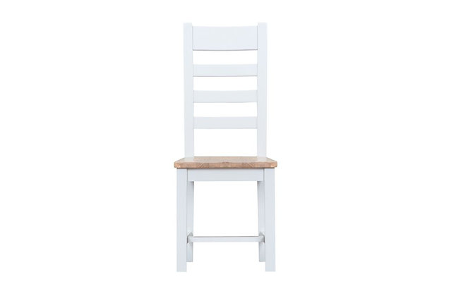 Country Ladder Back Chair Wooden Seat (Wimborne White)