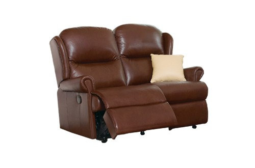 Monty Leather Small 2 Seater Recliner Sofa