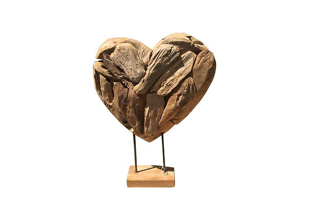 Teak Small Heart on a Stand