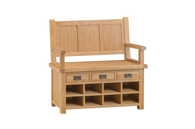 Naples Rustic Oak Monks Bench