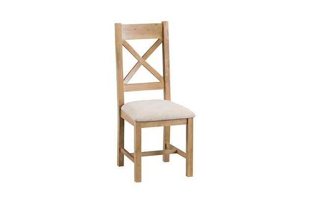 Naples Rustic Oak Cross Back Chair Fabric Seat