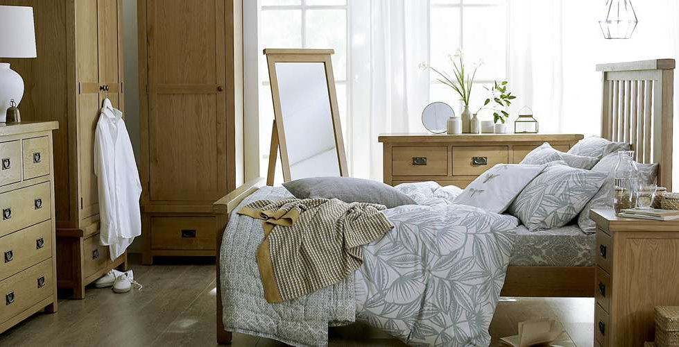 Naples Rustic Oak Bedroom Furniture - Wardrobes, Chest of Drawers, Bedside, Dressing Table, Mirror, Stool & Blanket Box