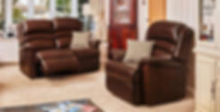 Warminster Leather 2 Seater Recliner Sofa and Armchair