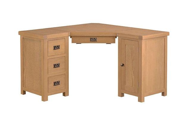 Naples Rustic Oak Corner Computer Desk