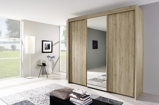 Deluxe 223cm Tall Sliding Door Wardrobe - Sonona Oak Finish