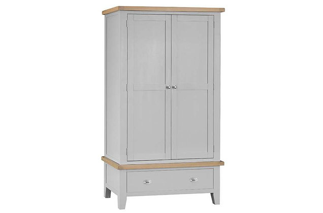 Country 2 Door, 1 Drawer Wardrobe (Ferndown Grey)