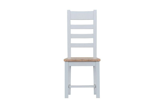 Country Ladder Back Chair Wooden Seat (Ferndown Grey)