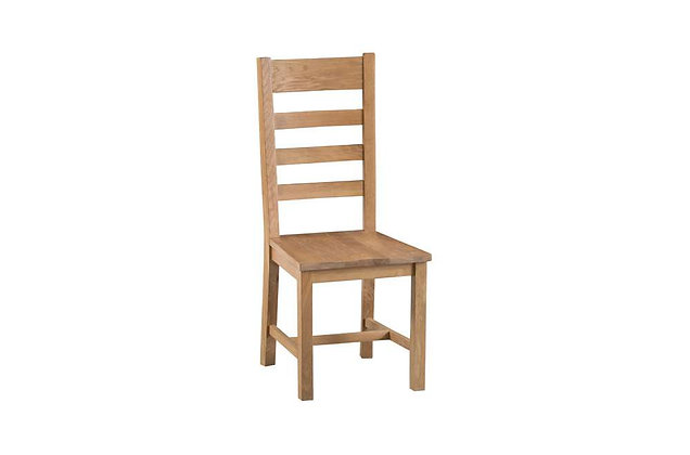 Naples Rustic Oak Ladder Back Chair Wooden Seat