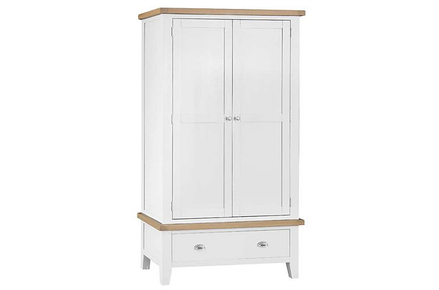 Country 2 Door, 1 Drawer Wardrobe (Wimborne White)