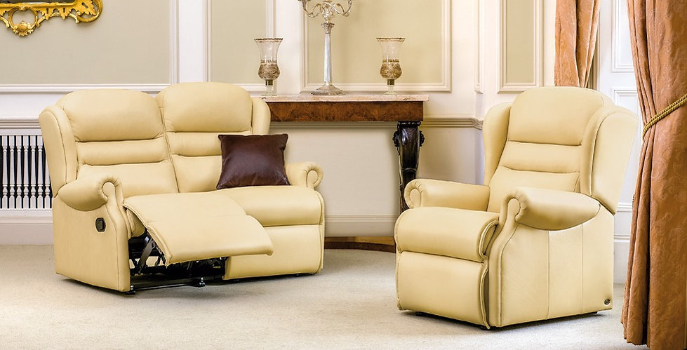 Vienna Leather 2 Seater Recliner Sofa and Armchair