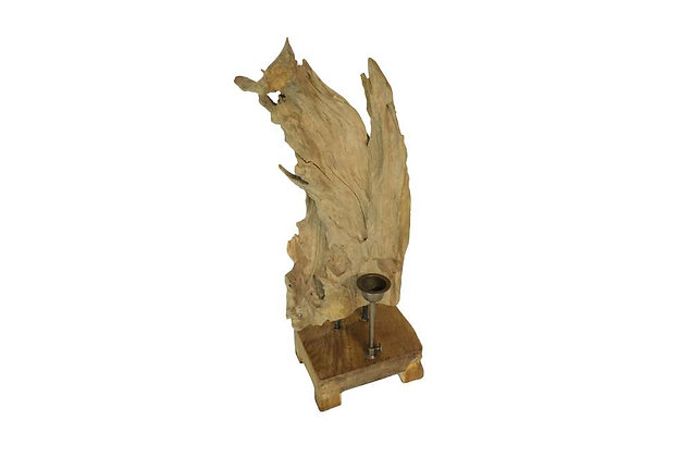Teak Forest Sculpture with Candle Holder - Small