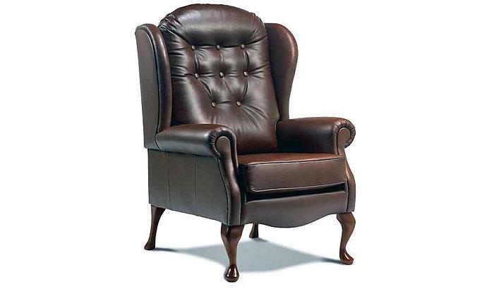 Lambeth Leather High Seat Legged Fireside Chair