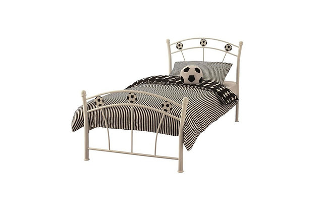 Football Metal White 90cm Single Bedstead