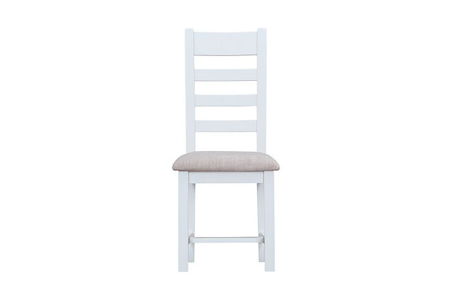 Country Ladder Back Chair Fabric Seat (Wimborne White)