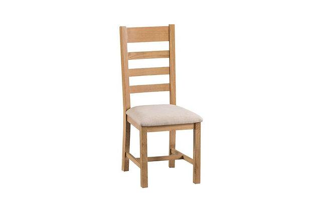 Naples Rustic Oak Ladder Back Chair Fabric Seat