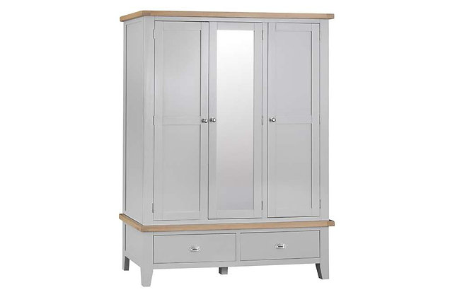 Country 3 Door Wardrobe with Mirror (Ferndown Grey)