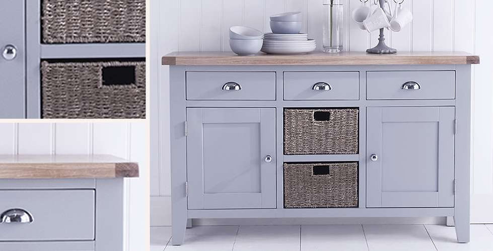 Country Ferndown Grey Living & Dining Furniture - Table, chairs, sideboard, small sidaboard and large bookcase
