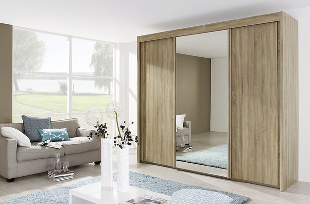 Deluxe Sliding Door Wardrobe - Riviera Oak Finish