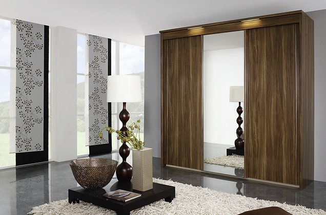 Deluxe Sliding Door Wardrobe - Walnut Finish
