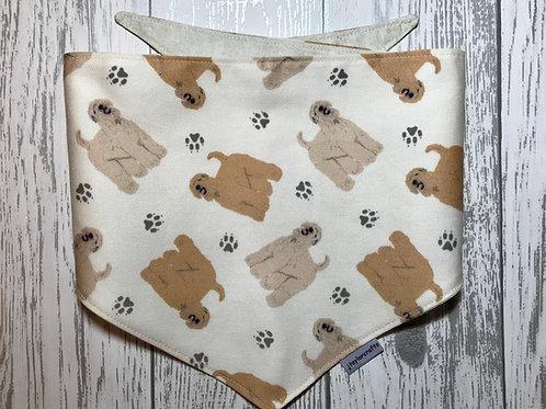 Wheaten Terrier Dog Reversible Tie Bandana