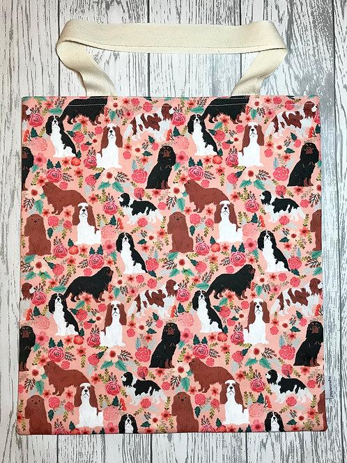 Floral King Charles Spaniel - Bag for Life
