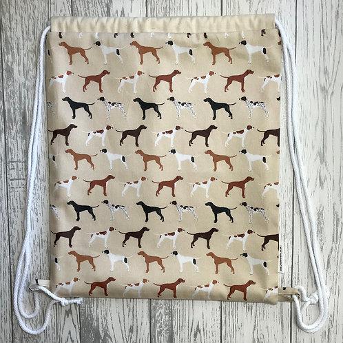 Tan Pointer Drawstring Backpack