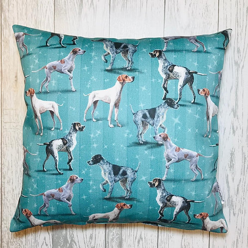 Classic Blue Pointer Dog Print Cushion Cover