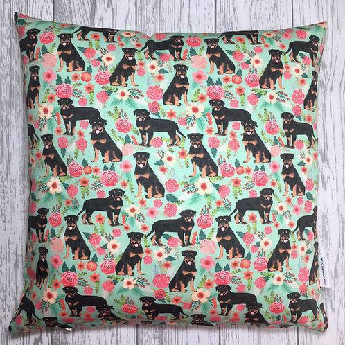 Rottweiler Dog Print Floral Cushion Cover