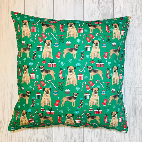 Border Terrier Christmas Cushion Cover