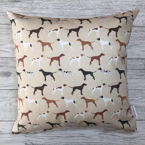 Tan Pointer Dog Print Cushion Cover