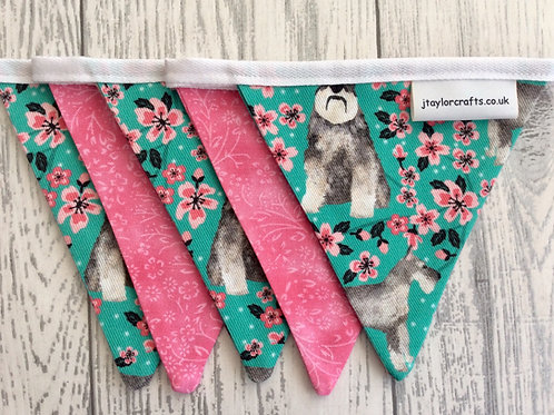 Schnauzer Floral and Pink Dog Print Bunting