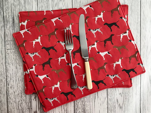 Red Pointer Print Fabric Table Mats