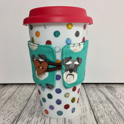 Green Schnauzer Print Cup Cozy