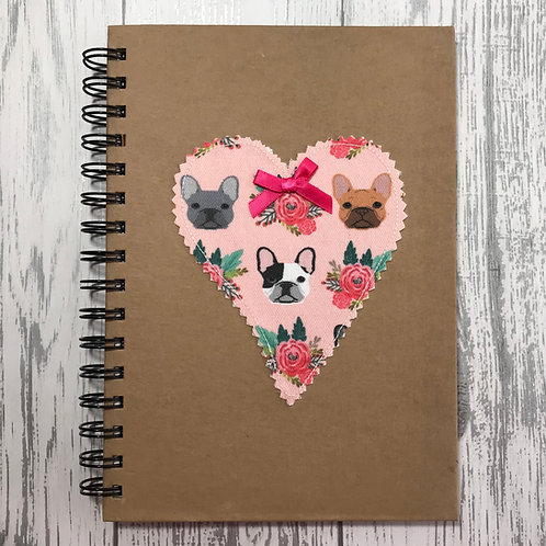 Pink French Bulldog Lined Notebook