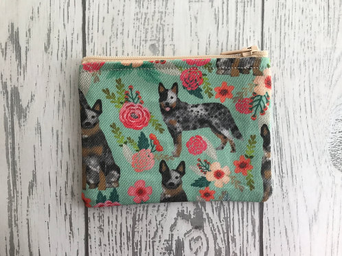 Australian Cattle Dog Floral Fabric Coin Purse