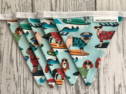 Blue Surfing Dogs Mini Bunting