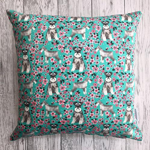 Schnauzer Floral Dog Print Cushion Cover