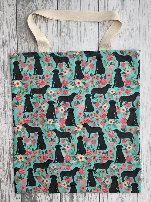 Floral Black Labrador- Bag for Life