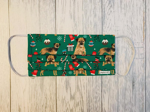 Border Terrier Christmas Pleated Face Mask