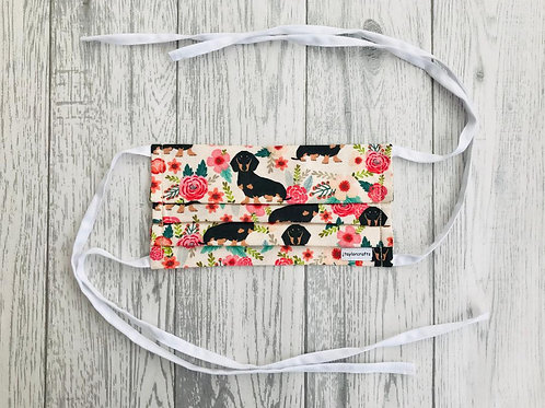 Dachshund Cream Floral Pleated Face Mask