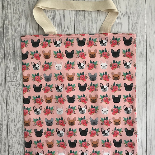 Floral French Bulldog - Bag for Life