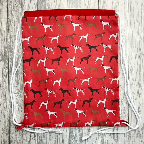 Red Pointer Drawstring Backpack
