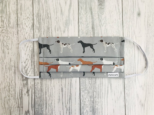 Grey Pointer Pleated Face Mask