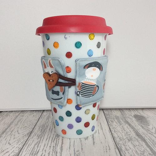 Grey Latte Dog Print Cup Cozy