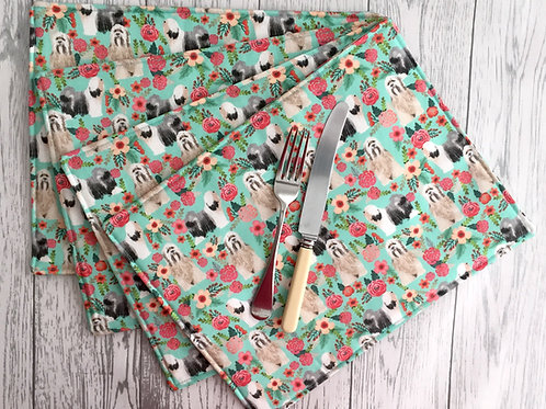 Blue Tibetan Terrier Dog Print Fabric Table Mats