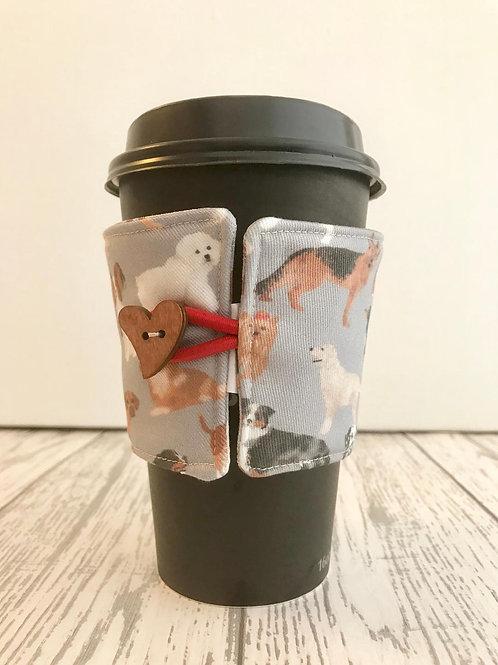 Grey Dog Print Cup Cozy