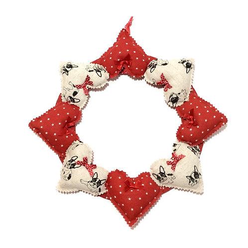 French Bull Dog Decorative Heart Wreath
