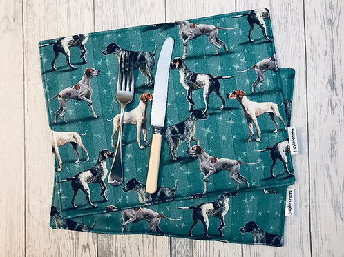 Classic Blue Pointer Print Fabric Table Mats