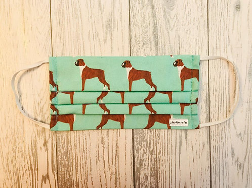 Boxer Dog Green Pleated Face Mask