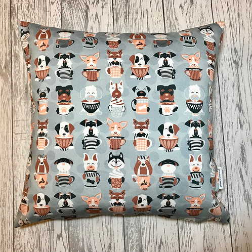 Grey Latte Dog Print Cushion Cover